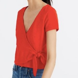 Red Madewell Texture & Thread Side-Tie Crop